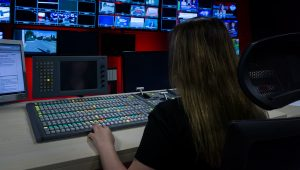 Female operator at vision mixer