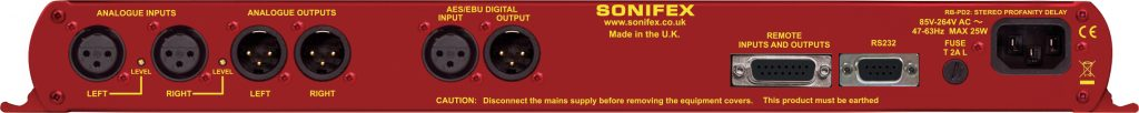 Sonifex RB-PD2 Audio Broadcast Profanity Delay - Rear Panel