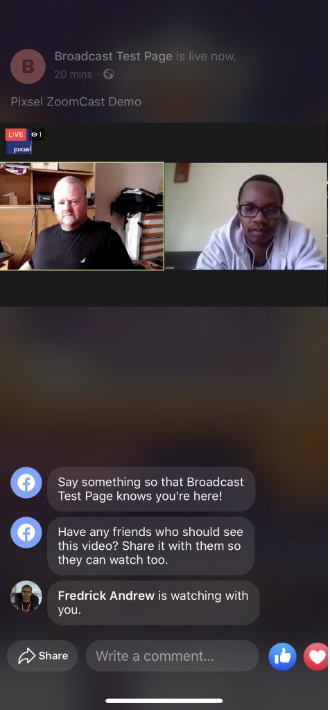 zoomcast steaming to facebook live